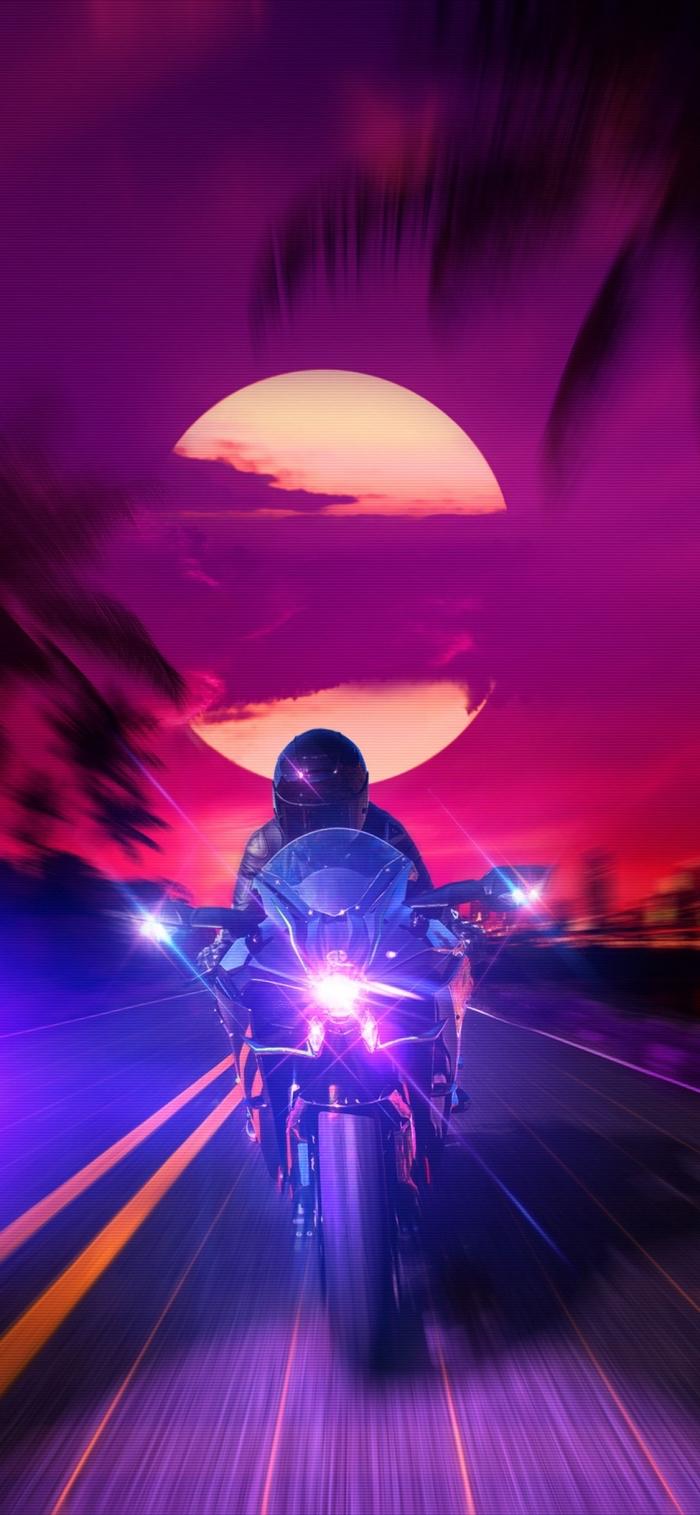 hintergrundsbilder iphone x, mann mit motorrad, große sonne, background fürs handy in lila