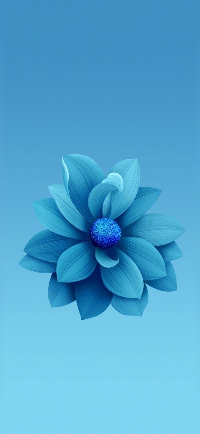 hintergrundbilder iphone, 3d wallpaper für handy in blau, realitische blume, hd