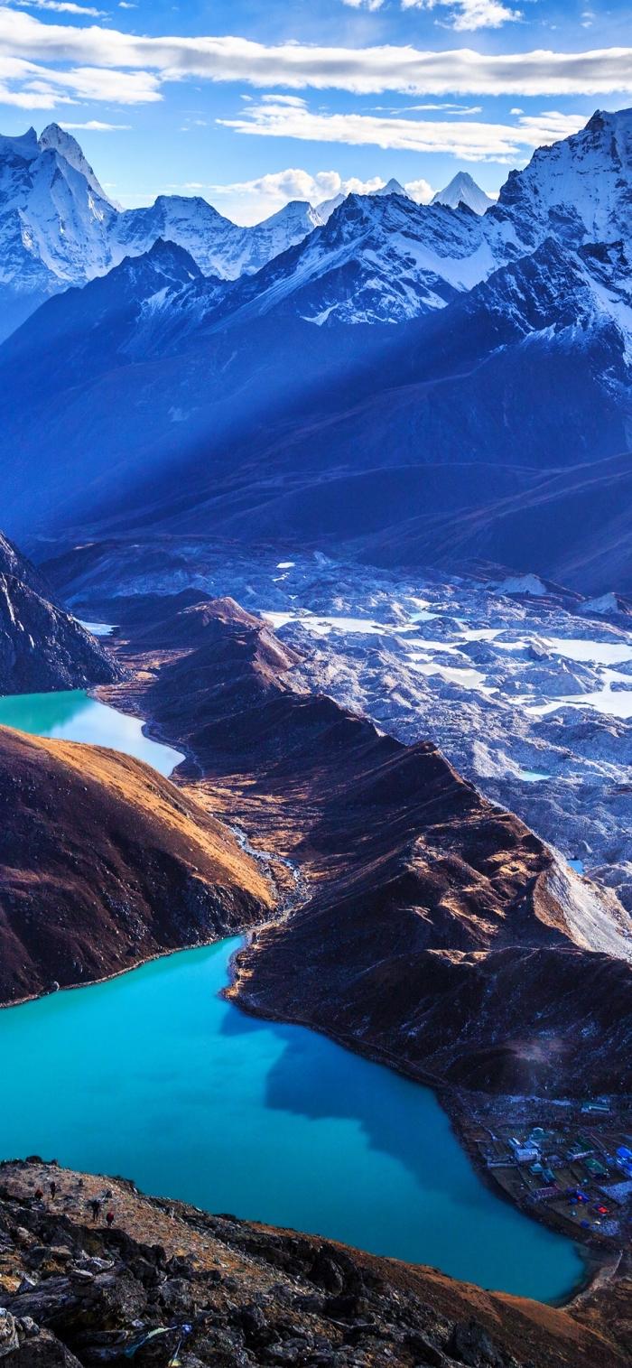 hintergrundbilder iphone x, spitzen mit schnee, herrliche landschaft, see