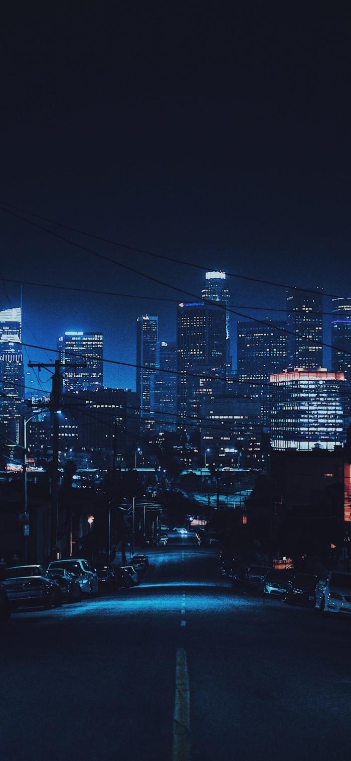 iphone wallpaper hd, große stadt, hohe gebäude, new york, blaues licht, nacht