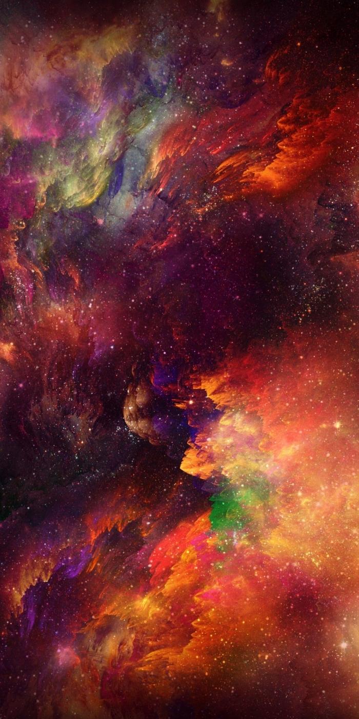 iphone x background, galaxy wallpaper in orange und schwarz, hintergrund für smartphone