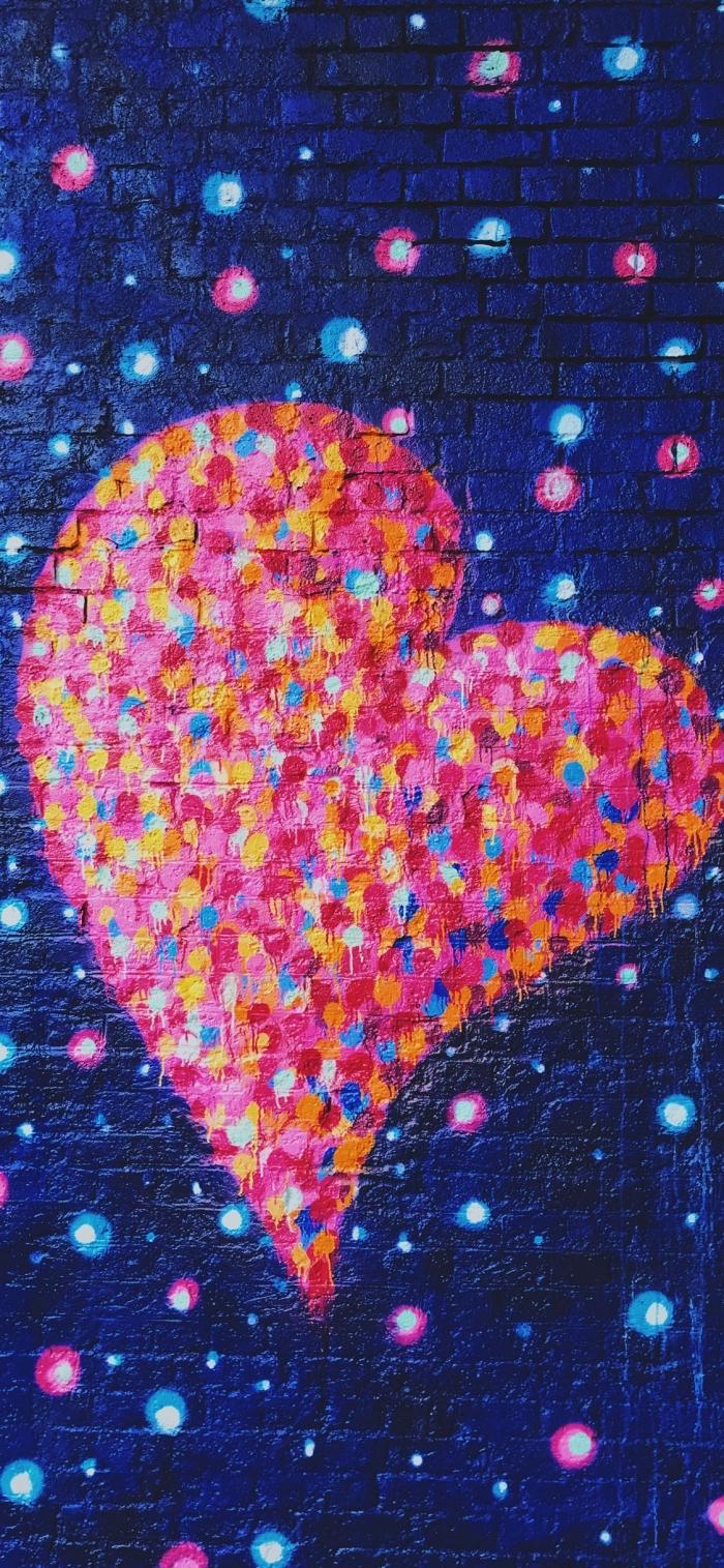 iphone x background, großes herz in bunten farben, wallpaper für apple, liebe
