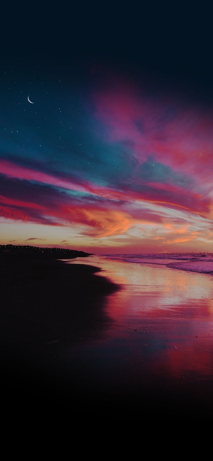 iphone x background, nostalgisches foto, sonnenuntergang am meer, dunke farben