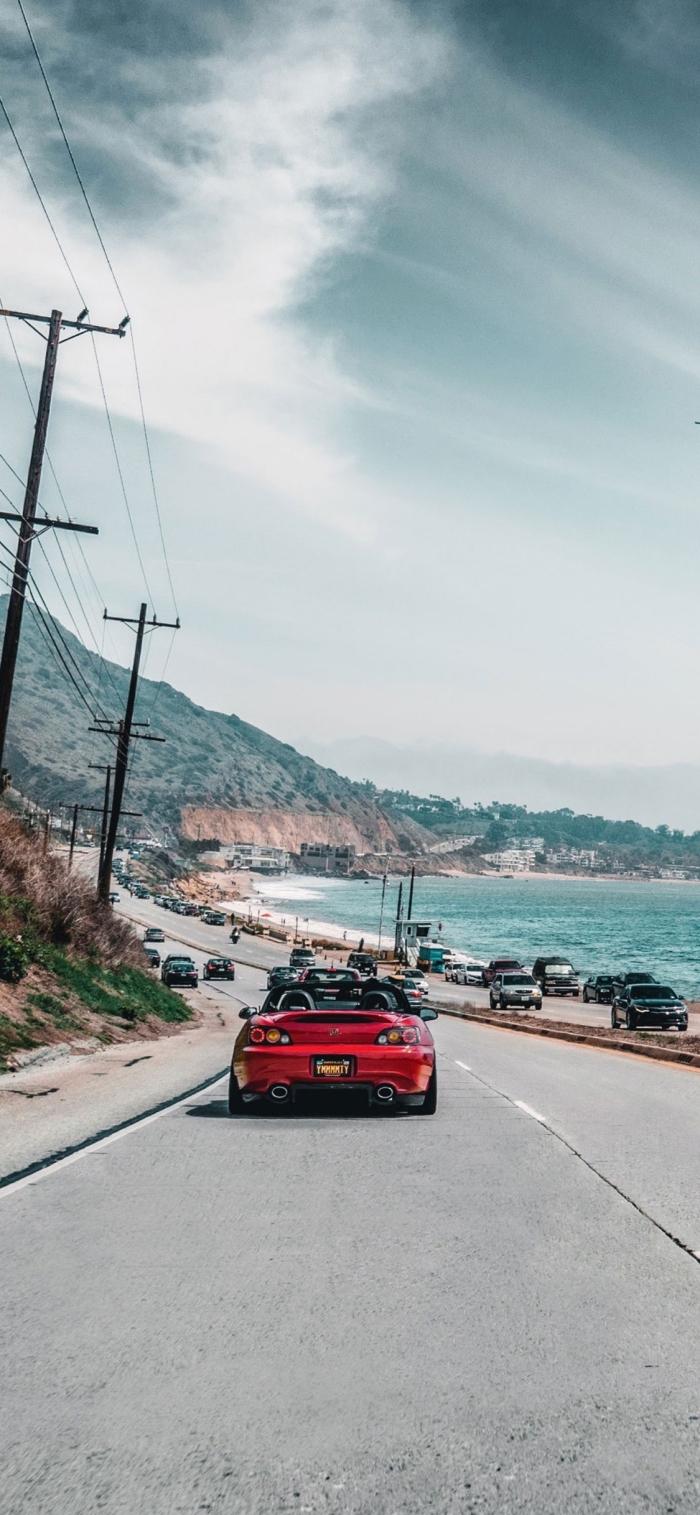 iphone x hintergrundsbild, rotes auto, lange straße, hintergründe fürs handy, reisen