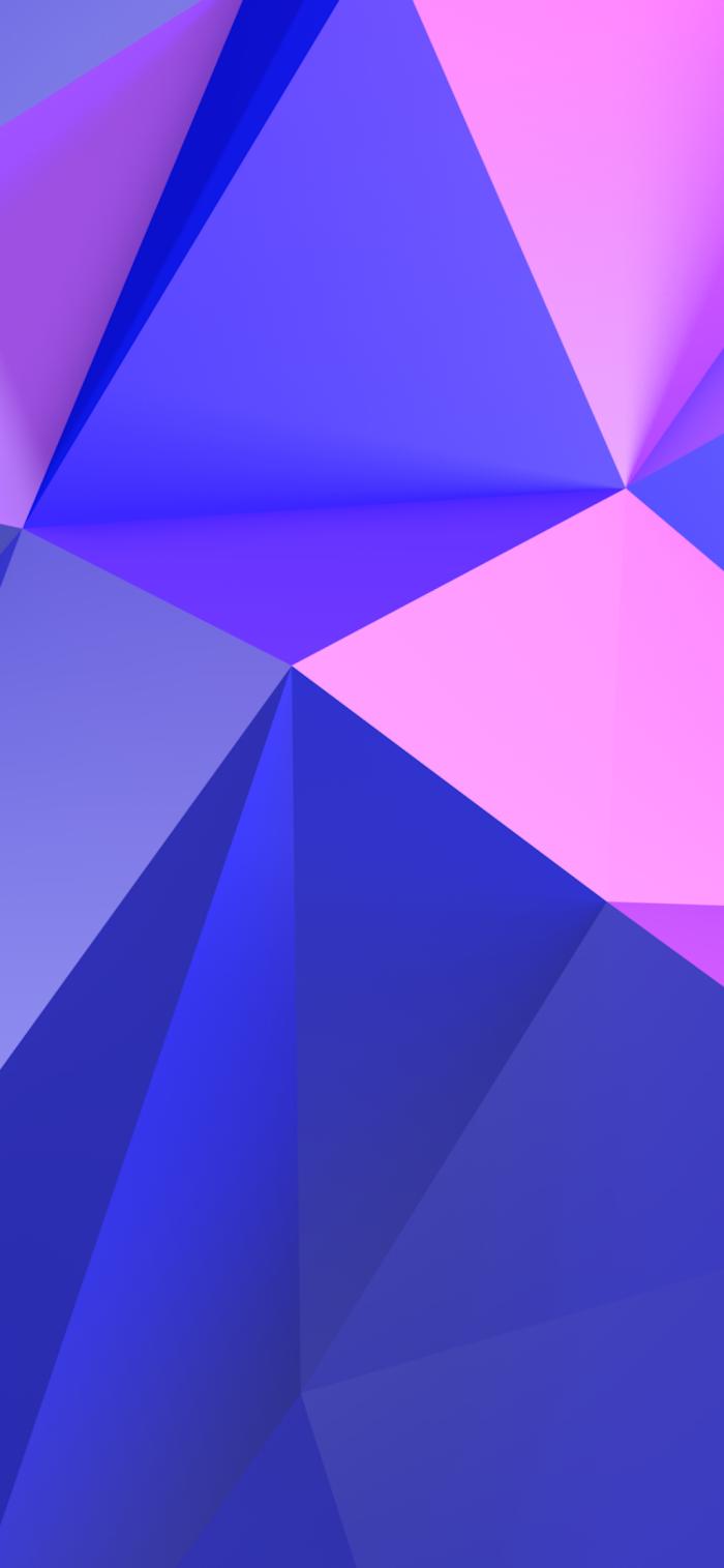 iphone x hintergrundsbild in rosa und lila, geometrische elemente, 3d wallpaper