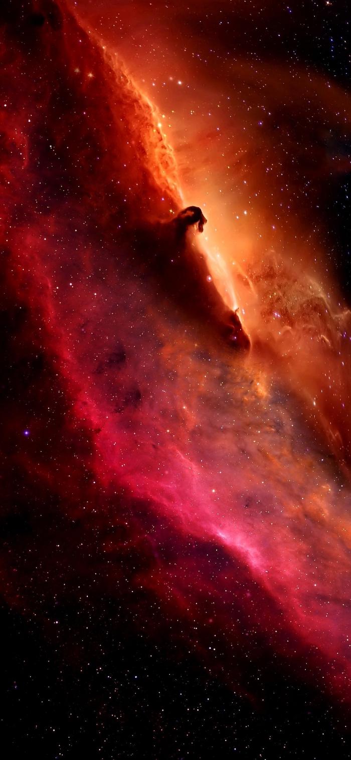 iphone x wallpaper, galaxy hintergrund für handy, sternenstaub in orange und rosa