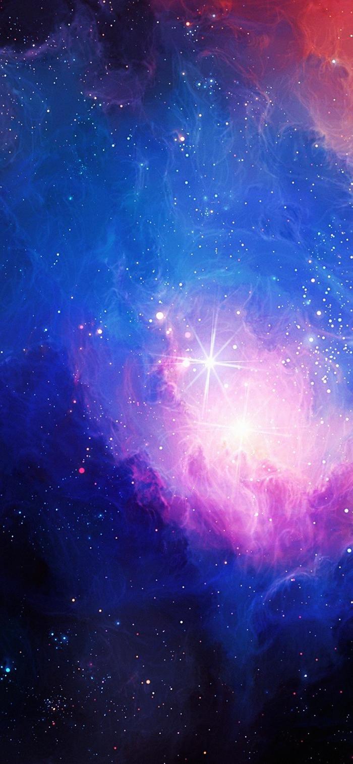 iphone x wallpaper, galaxy hintergrund, viele sterne, sternenstaub in rosa und lila, kosmos