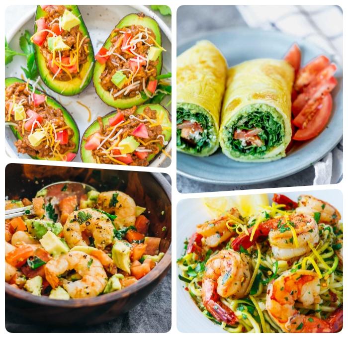 keto rezepte, mittagessen ideen, ketogene diät essen ideen, gefüllte avocados, garnelen mit zucchini