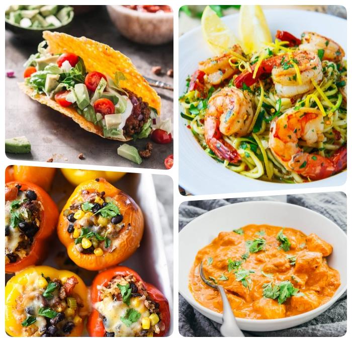 keto rezepte, garnelen mit zucchini nuddeln, tacos mit gemüse, gefüllte paprikas