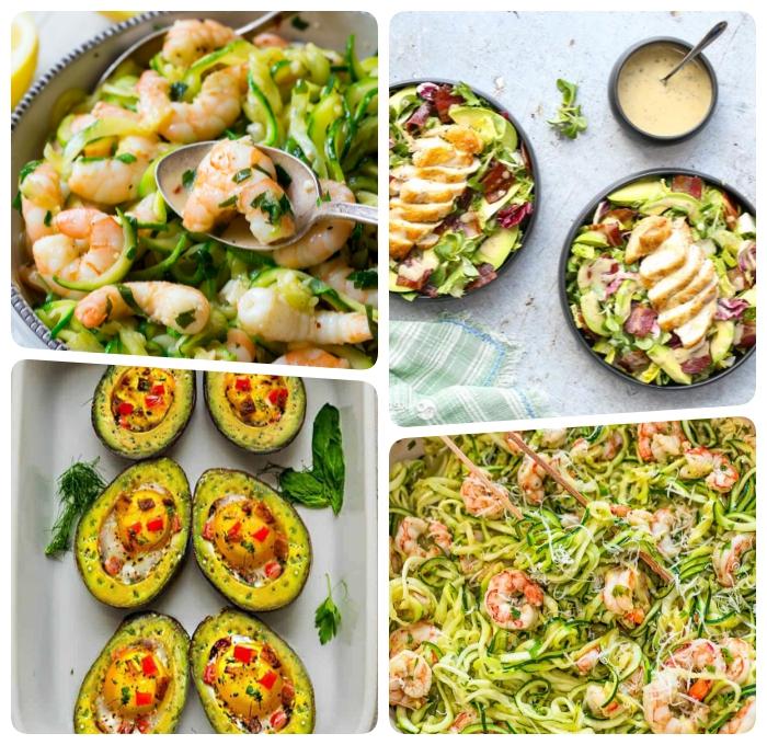 ketogene ernährung, die besten rezepte, avocado boote mit eiern und paprikas, garnelen mit zucchini