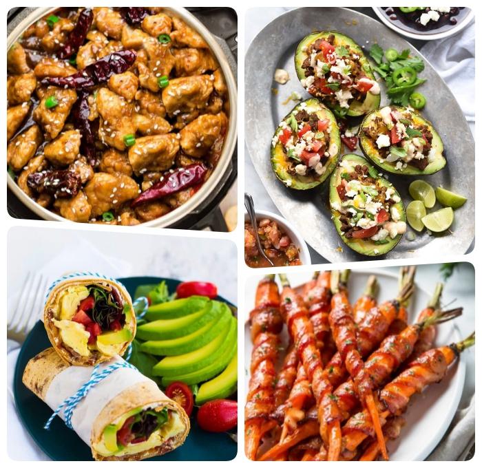 ketogene ernährung, spiße aus karotten und bacon, avocado boote, enchilladas mit schwarzen bohnen und avocado