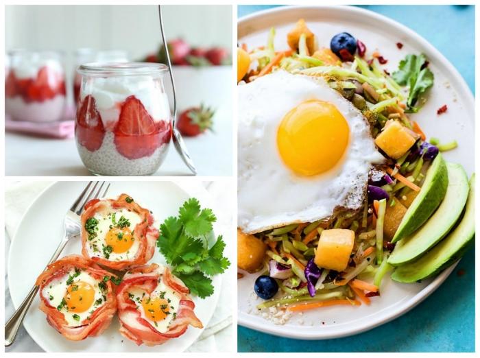 gebratenes ei mit avocado und salat, ketogene ernährung, salzige muffins mit bacon und eiern, frühstücksideen