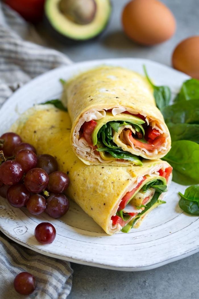 ketogene ernährung ideen, gesunde enchilladas aus eiern mit füllung aus avocados und schinnken