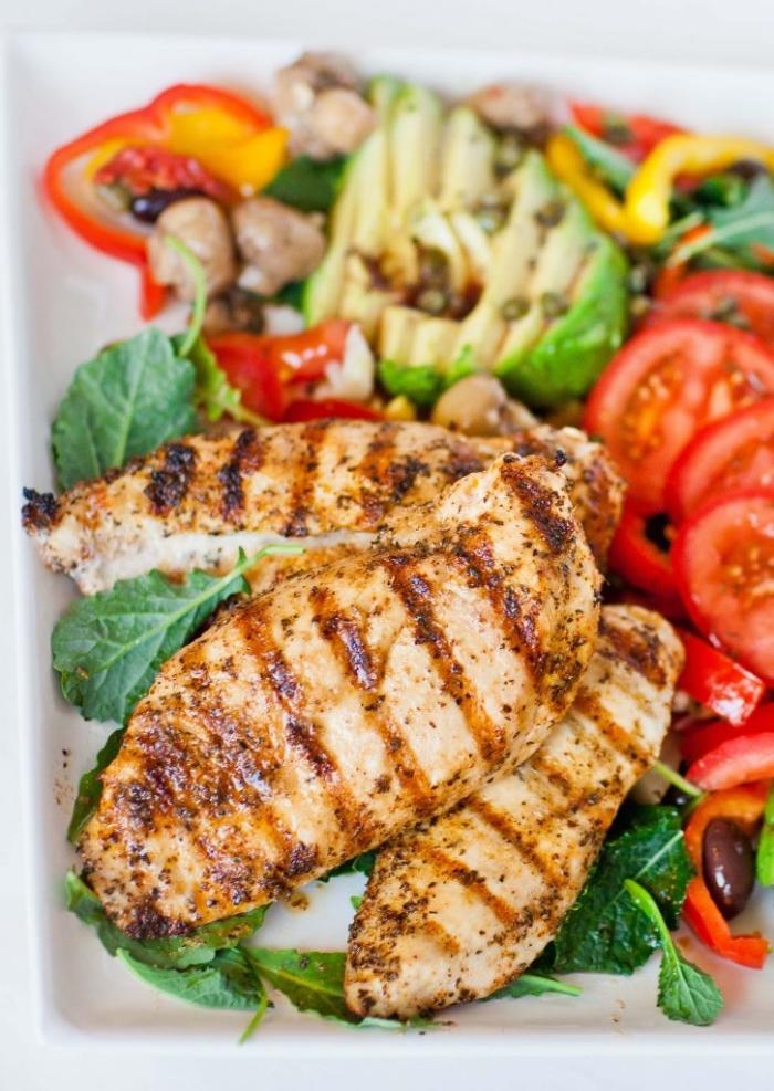 ketogene ernährung, gegrillte hühnerbrust mit salat aus toamten und avocado