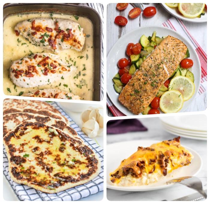 ketogene ernährung, lachs mit salat as cherry tomaten und zucchini, hühnerbrust mit creme soße