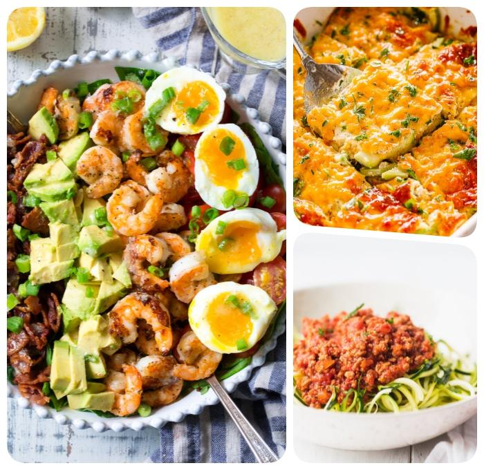 rezept keto, salat mit garnelen, avocado, eiern und bacon, ketogene ernährung, kasserolle