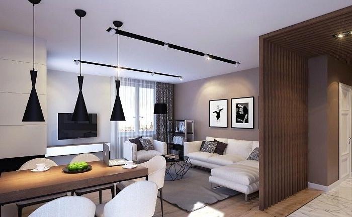 kleine räume einrichten, wohnzimmereinrichtung in braun, langer esstisch aus holz, schwarze pendelleuchte