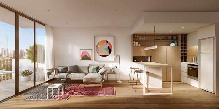kleine räume einrichten, einrichtung in weiß, küche und wohnzimmer in einem, wohnungeinrichtung