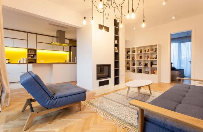 kleine räume einrichten ideen, wohnzimmer und küche in einem raum, wohnzimmerbeleuchtung