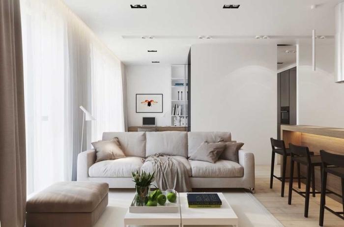 kleine räume einrichten, einrichtung in neautralfarben, wohnzimmerdeko ideen, wohnzimmergestaltung