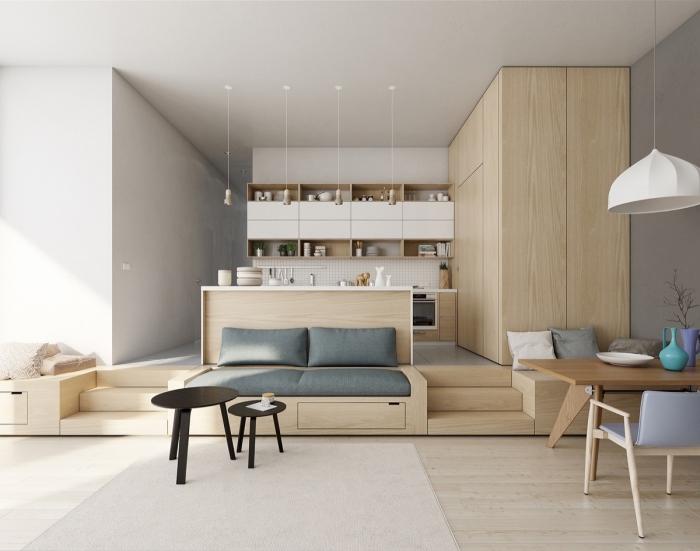 kleine räume geschickt einrichten beispiele, wohnzimmereinrichtung in weiß und holz