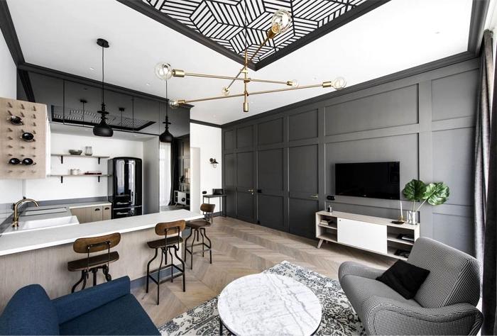 kleine räume geschickt einrichten, designer möbel, einrichtung in weiß und grau, wohnzimmer und küche in einem