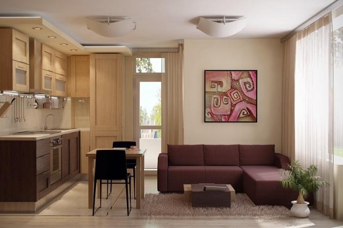 kleine räume geschickt einrichten beispiele, wohnzimmer und küche in einem, dunkelrotes ecksofa