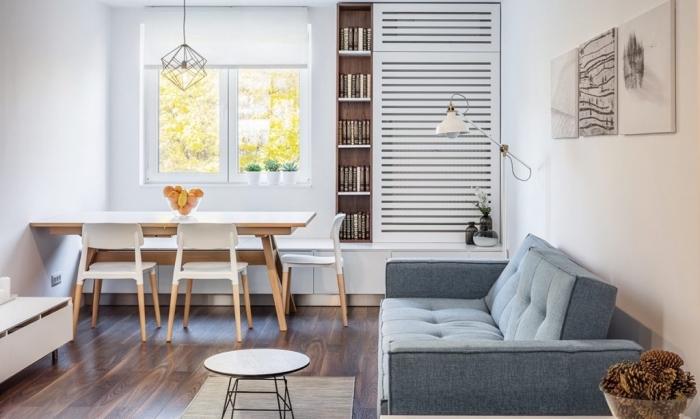 wohnung einrichten, kleine räume geschickt einrichten, designer sofa, wohnzimmer wandfarbe