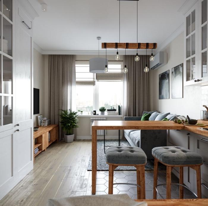 wohnung gestaltungsideen, kleine räume geschickt einrichten, küche und wohnzimmer gestalten