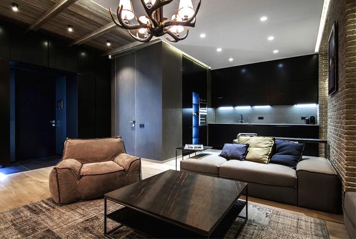 wohnzimmergestaltung in dunkle farben, kleine räume geschickt einrichten, küche in schwwarz