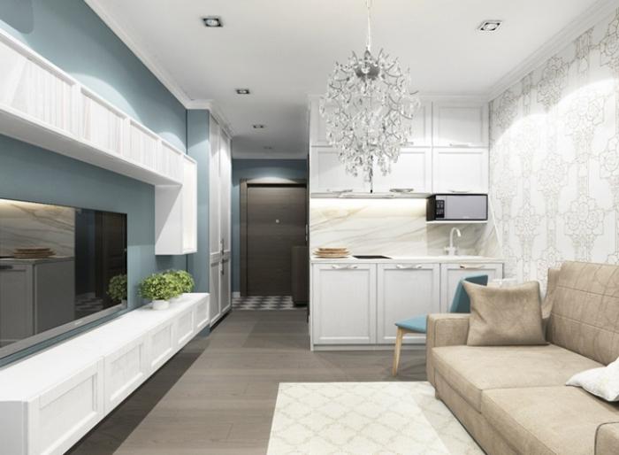 kleine sofas für kleine räume, wohnzimmerinrichtung in maritimen farben, beige sofa