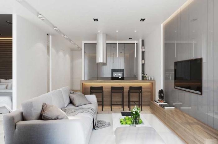 kleine sofas für kleine räume, küche und wohnzimmer in einem, kücheninsel mit beleuchtung