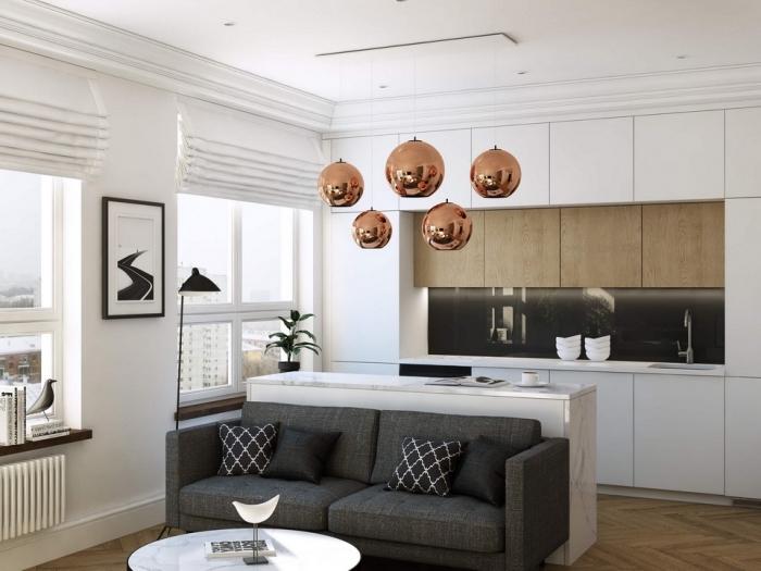 kleine sofas für kleine räume, kupferfarbene pendellecuhten, weiße kücheninsel, designer einrichtung