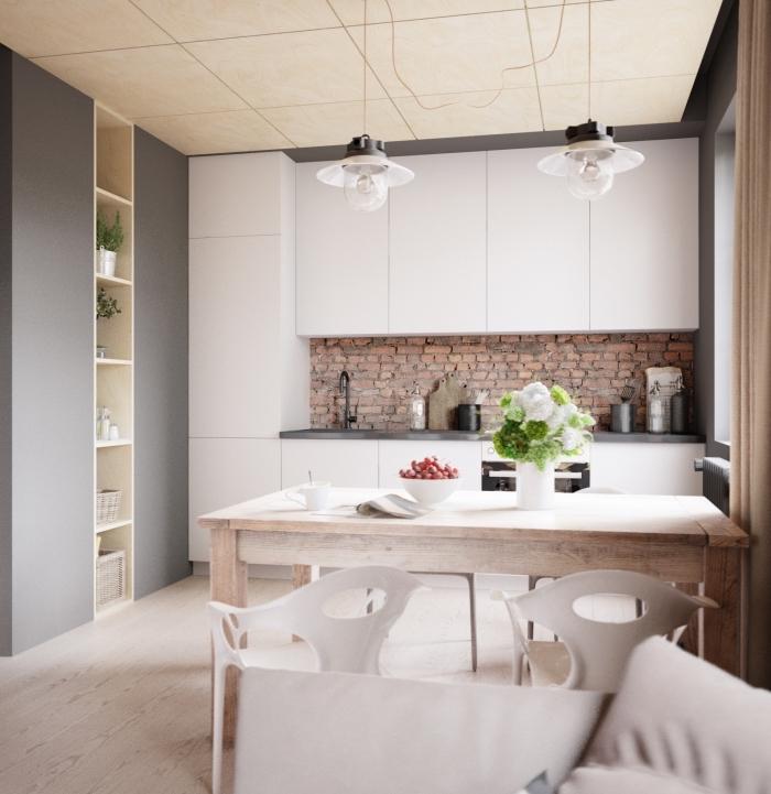 kleines wohnzimmer einrichten, kpchenwand mit ziegelmuster, esstisch aus holz, küchenideen