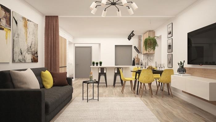 kleines wohnzimmer einrichten, wohn und esszimmer in einem raum, gelbe farbakzente