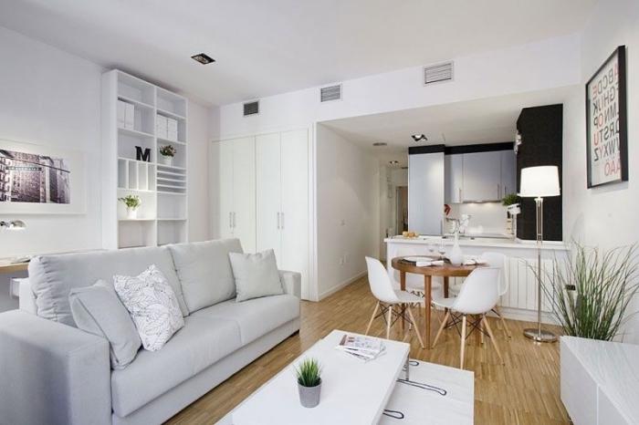 kleines wohnzimmer einrichten, wohnzimmergestaltung in weiß, wohnzimmerdeko ideen
