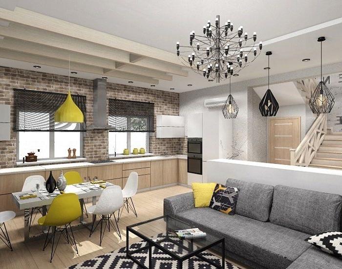 kleines wohnzimmer mit essbereich ideen, einrcihtung in nautralfarben, gelbe dekoakzente