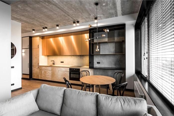 kleines wohnzimmer mit essbereich ideen, küche einrichten ideen, wohnung einrichten