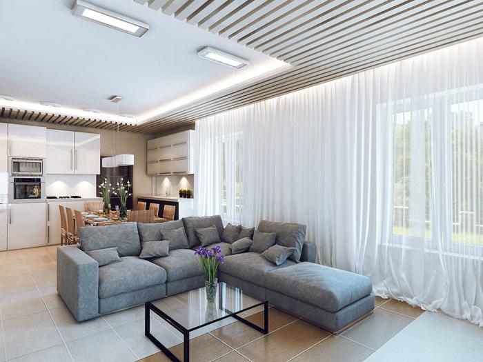 kleines wohnzimmer mit essbereich ideen, wohnzimmergestaltung in neutralfarben, weiße gardinen, ecksofa