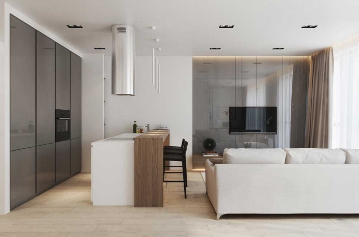 kleines wohnzimmer mit essbereich ideen, moderne wohnzimmergestaltung in braun und weiß
