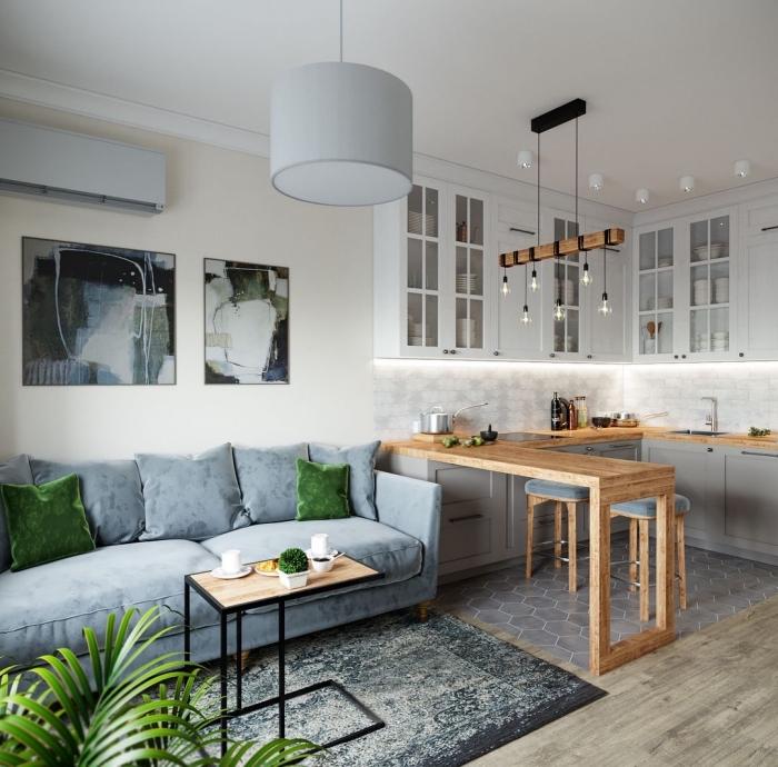 kleines wohnzimmer mit essbereich ideen, wohnzimmereinrichtung in grau und weiß, wohnzimmergestaltung