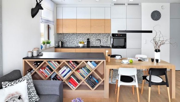 kleines wohnzimmer mit essbereich ideen, wohnzimmereinrichtung ideen, tisch mit unterregal