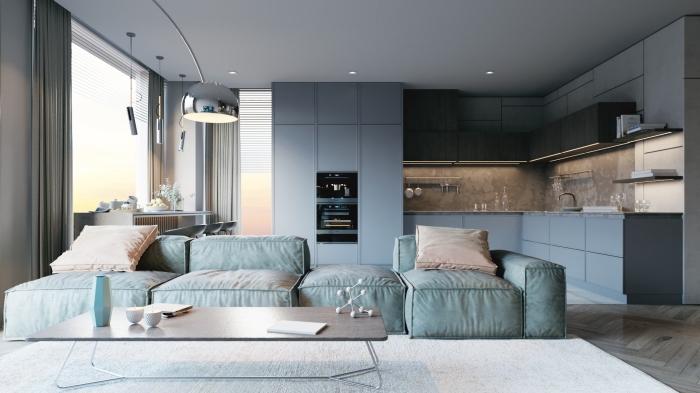 kleines wohnzimmer mit essbereich ideen, wohnzimmereinrichtung in grau, designer möbel