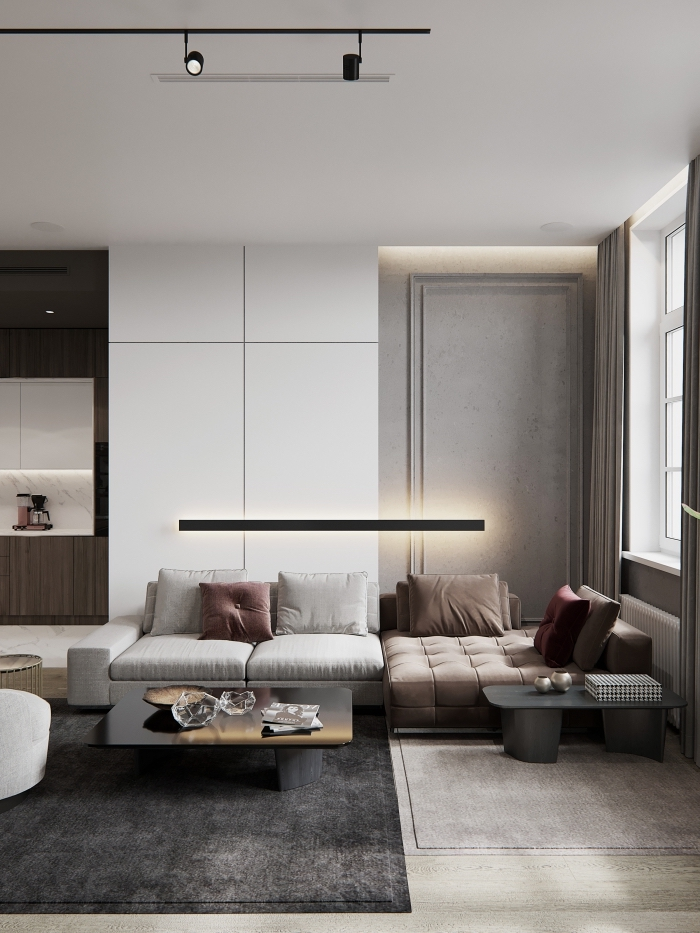 kleines wohnzimmer mit essbereich ideen, wohnzimmereinrichtung in beige und braun, designer sofa