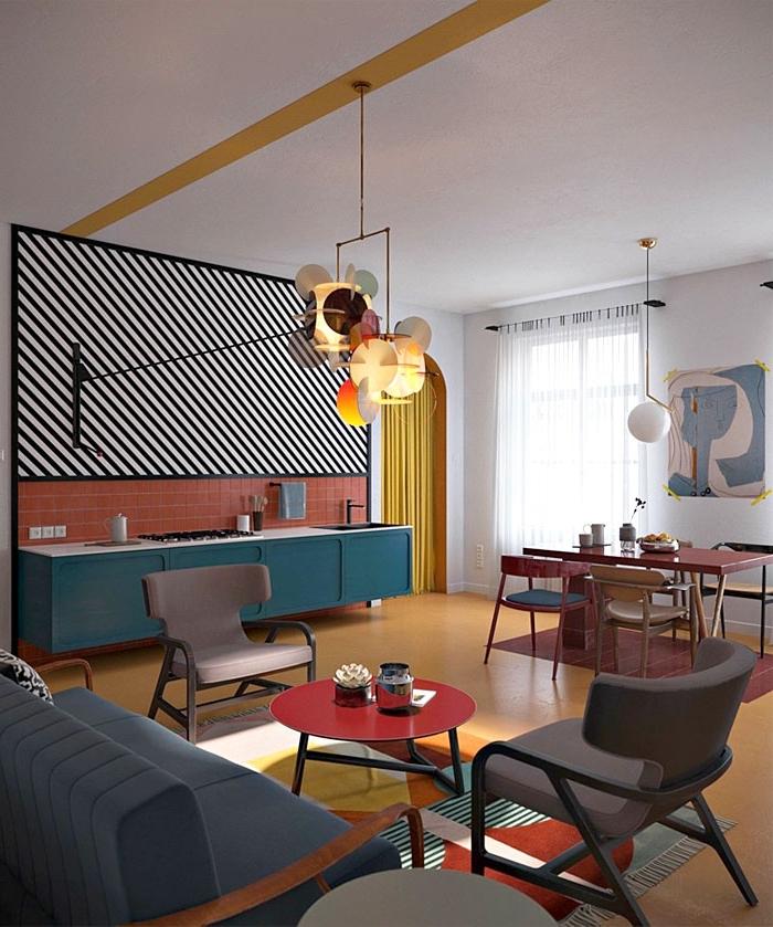 küche esszimmer und wohnzimmer in einem raum, desginer einrcihtung in modernen farben, wohnideen