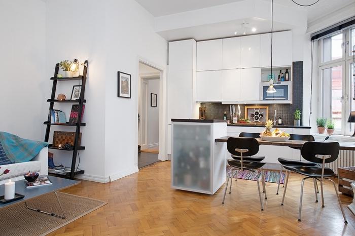 küche esszimmer wohnzimmer in einem raum, kleine wohnung einrichten, desisgner möbel