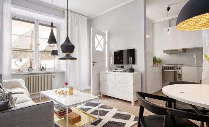 küche esszimmer wohnzimmer in einem raum, wohnzimmergestaltung für kleine räume