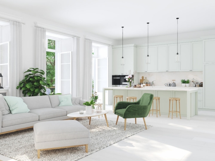 wohnzimmereinrichtung in weiß und mint, küche esszimmer wohnzimmer in einem raum