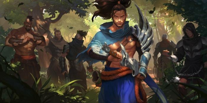 ein Held mit blauen Kleidern, Räuber in einem Wald, Legends of Runeterra