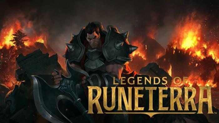 Legends of Runeterra, ein Kämpfer in einem Wald, der brennt, ein Logo von dem Spiel